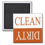 Clean dirty-Orange dishwasher magnet