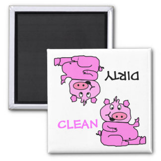 """CLEAN / DIRTY"" Pink Pig Dishwasher Magnet"