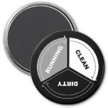 Clean-Dirty-Running dishwasher magnet (on black)