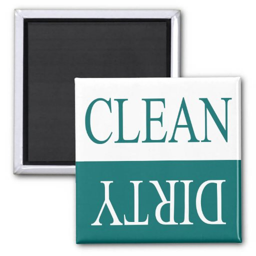 Clean dirty-Teal dishwasher magnet
