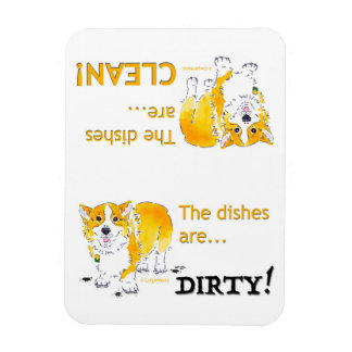 Clean Dishes / Dirty Dishes Corgi (3x4) Magnet