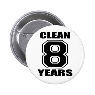 clean eight years black 6 cm round badge