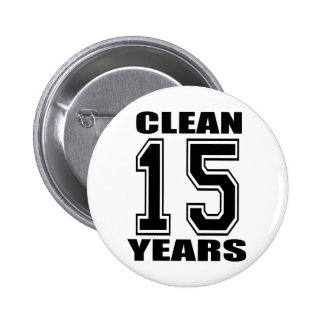 clean fifteen years black 6 cm round badge