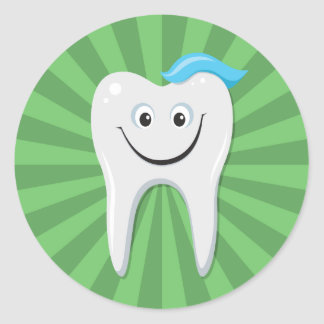 Clean green happy cartoon tooth with tooth paste round sticker