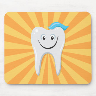 Clean happy cartoon tooth with tooth paste mouse mat