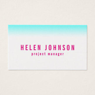 Clean modern Aqua and Hot pink gradient Business Card