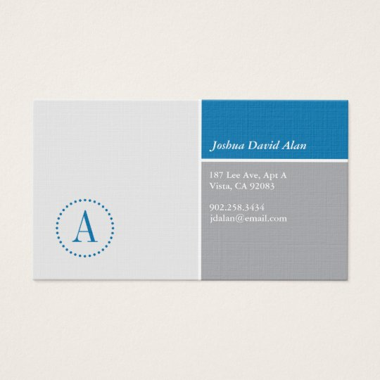 Clean Monogram Business Card