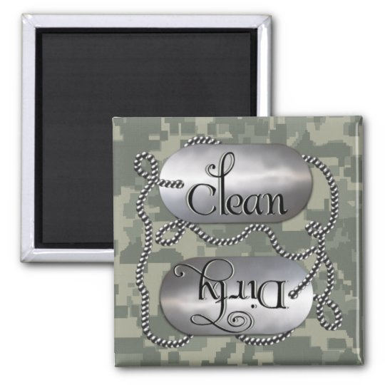 Clean N Dirty Dog Tags 3 (Dishwasher Magnet) Square Magnet