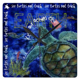 Clean Ocean Sea Turtle Art Wall Clocks