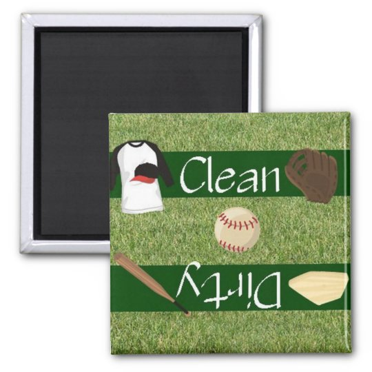 Clean or Dirty Baseball Dishwasher Magnet