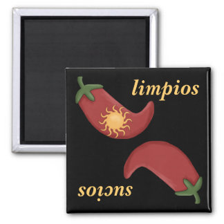 Clean or Dirty Chile & Sun Spanish Dishwasher Square Magnet