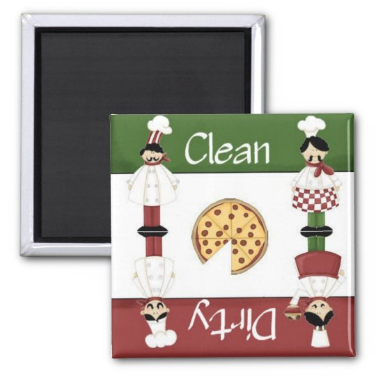 Clean or Dirty Italian Chef Dishwasher Magnet