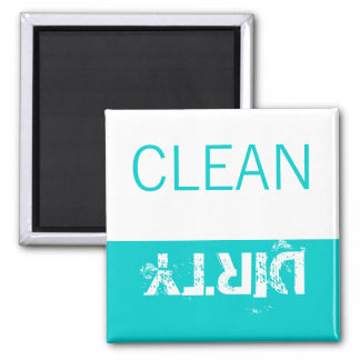Clean or Dirty Magnets DIshwasher Labels Aqua Blue
