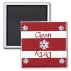 Clean or Dirty Snowflakes Dishwasher Magnet