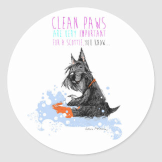 Clean Paws Scottie Dog Classic Round Sticker