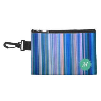 Clean Plain Stripes Blue with Monogram Accessory Bag