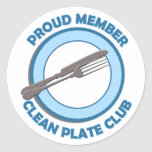 Clean Plate Club Proud Member Round Stickers