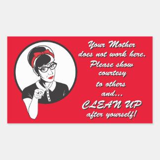 Clean up! rectangular sticker