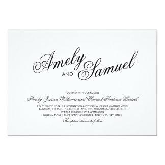 Clean White Elegant Calligraphy Wedding Invitation