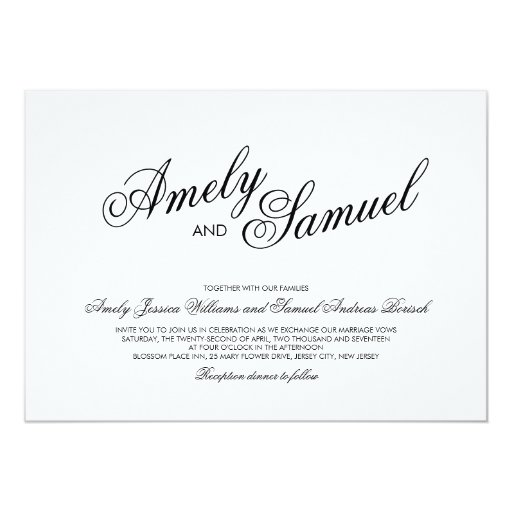 Clean white elegant calligraphy wedding invitation zazzle