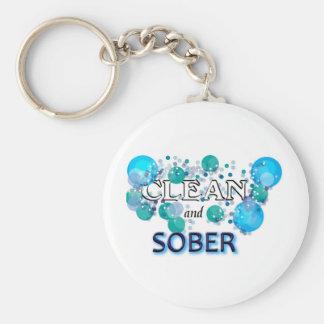CleanandSOBER.jpg Basic Round Button Key Ring