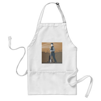 cleaner street sweeper with broom working retro standard apron