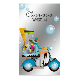 Cleaning Business Card Scooter Girl Silver