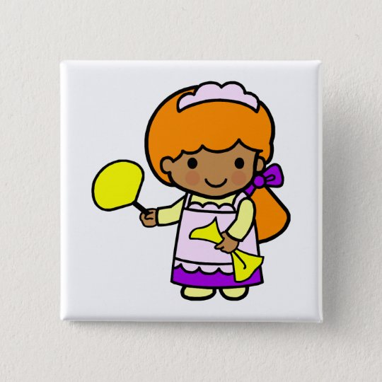 Cleaning Girl 15 Cm Square Badge