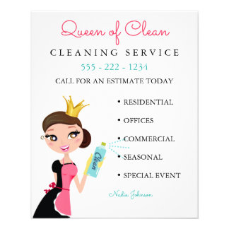 Cleaning Maid Service Brunette Character Crown 11.5 Cm X 14 Cm Flyer