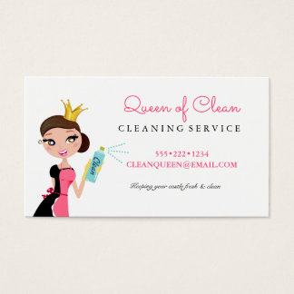 Cleaning Maid Service Brunette Character Crown Business Card