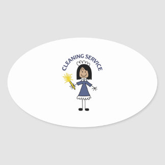 CLEANING SERVICE OVAL STICKER