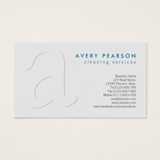 Cleaning Services Shadow Monogram Business Card