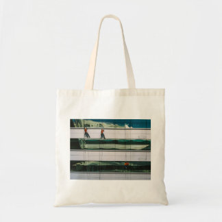 Cleaning windows of a skyscraper budget tote bag