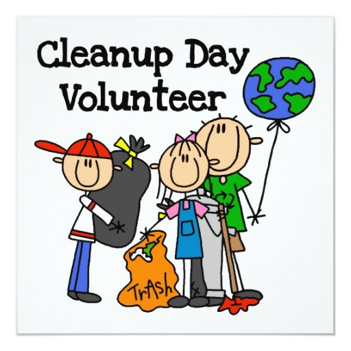 Cleanup Day Volunteer T-shirts and Gifts 13 Cm X 13 Cm Square Invitation Card