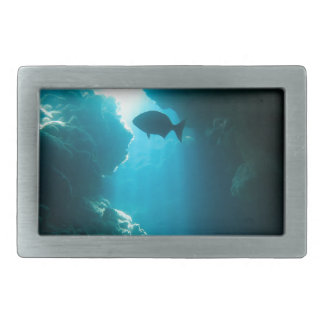 Clear blue cave and fish belt buckles