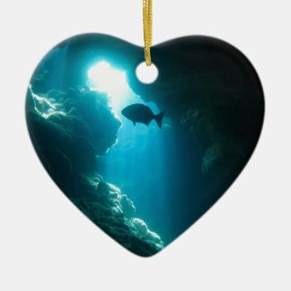 Clear blue cave and fish ceramic heart decoration