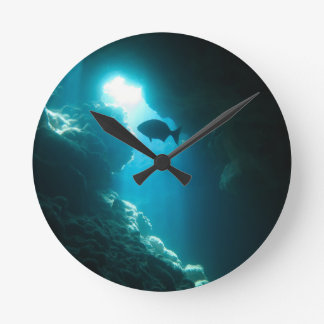 Clear blue cave and fish round clock