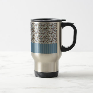 Clear blue rays with the circles stainless steel travel mug