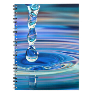 Clear Blue Water Drops Flowing Notebooks