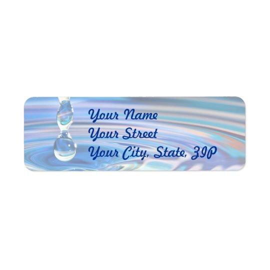 Clear Blue Water Drops Flowing Return Address Label