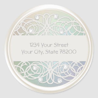 Clear Crystal and Pearl Damask Return Address Classic Round Sticker