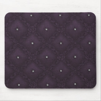 Clear Crystals on Quilted Eggplant Background Mouse Mat