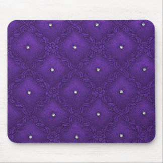 Clear Crystals on Quilted Purple Background Mouse Mat