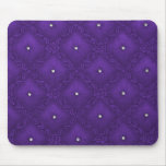 Clear Crystals on Quilted Purple Background Mouse Pads
