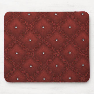 Clear Crystals on Quilted Red Background Mouse Pad