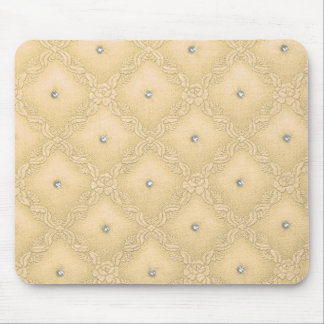 Clear Crystals on Quilted Yellow Background Mouse Pad