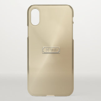 Clear Gold 3D Visual Effect Nameplate Personalized iPhone X Case