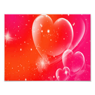 Clear Hearts On Pink & Orange Swirl Art Photo
