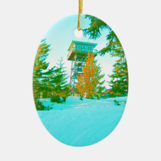 Clear Lake Butte Fire Lookout Ceramic Oval Decoration