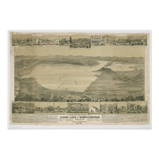 Clear Lake, CA. Panoramic Map (0289A) Poster